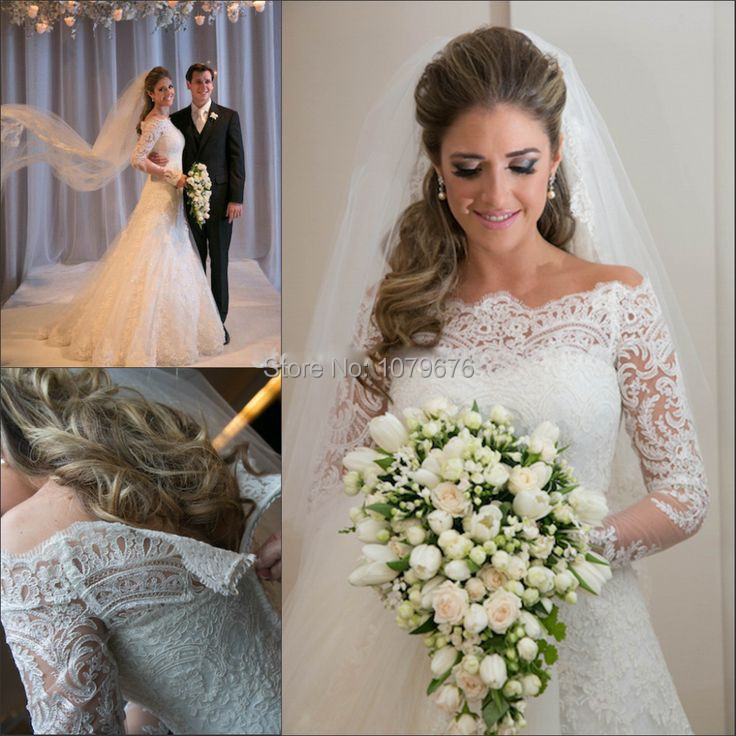Top Sell Elegant Bride Lace Wedding Dresses Real Long Sleeve Bridal ...