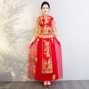 Red Bride Girls Embroidery Chinese Traditional Phoenix Wedding Cheongsam Oriental Evening Dress Vestido China Qipao Long Sleeve
