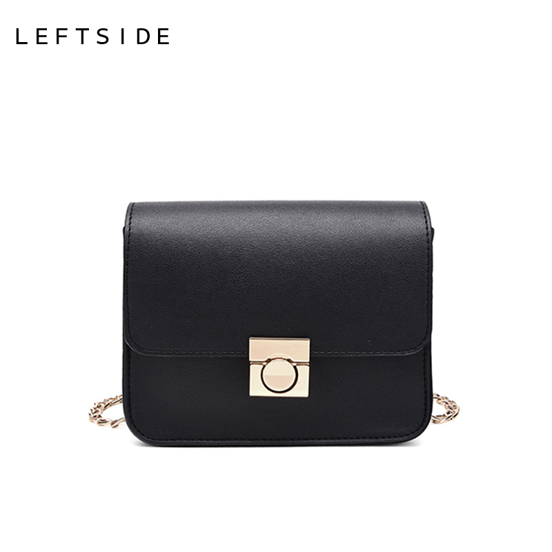 LEFTSIDE Women Small Flap Luxury Cross-body Lock Shoulder Bags Ladies Leather Chains Crossbody Mini Bag Black Red Candy Color