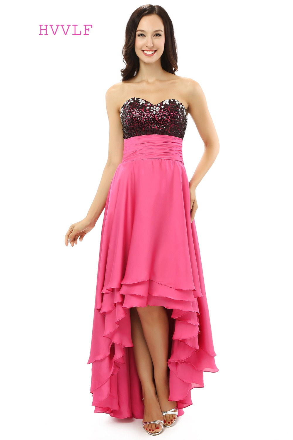 Short Front Long Back 2019   Prom     Dresses   A-line Sweetheart Fuchsia Chiffon Sequins Long   Prom   Gown Evening   Dresses   Evening Gown