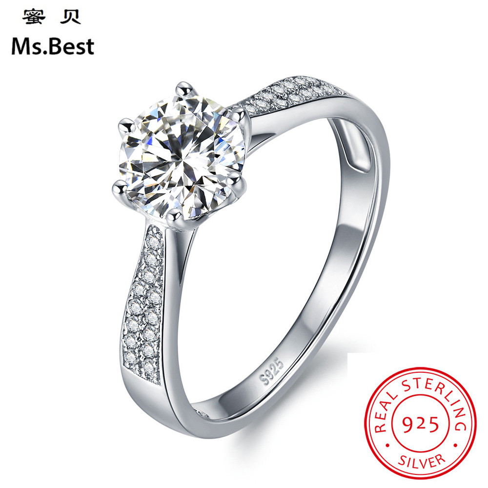 Solid s925 Sterling Silver Finger Rings for women solitaire Wedding Ring White Gold Coated as Marriage Gift Diamond Cut StoneSolid s925 Sterling Silver Finger Rings for women solitaire Wedding Ring White Gold Coated as Marriage Gift Diamond Cut Stone