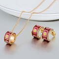 Jewelry Sets Necklaces + Earrings For Women Gold Plated Stainless Steel Enamel Indian Jewelry Set Ladies Parure Bijoux Femme