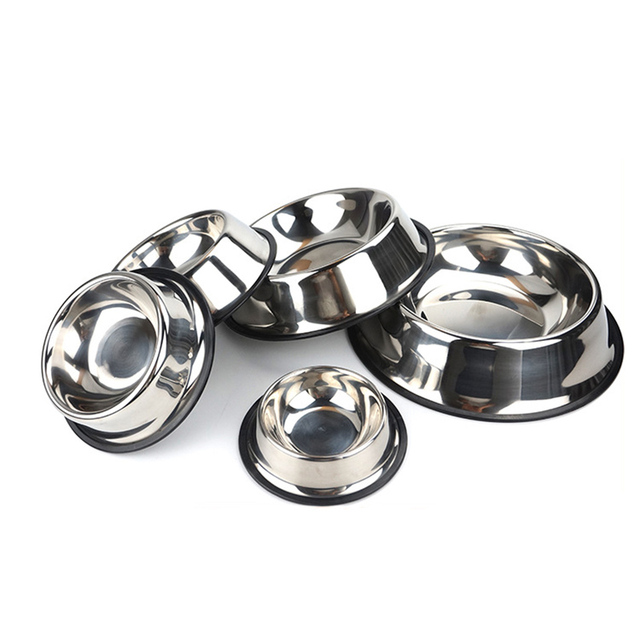 2017 Stainless Steel Pet Bowls for Dog Puppy Cats Food Water Feeder Pets Supplies Feeding Dishes Dogs Bowl 6 Sizes