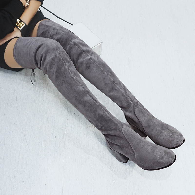 ФОТО Womens Stretch Slim Suede Over the Knee Boots Thigh High Boots Sexy Fashion High Heel Boot Plus Size Shoes Woman 2016 Black Grey