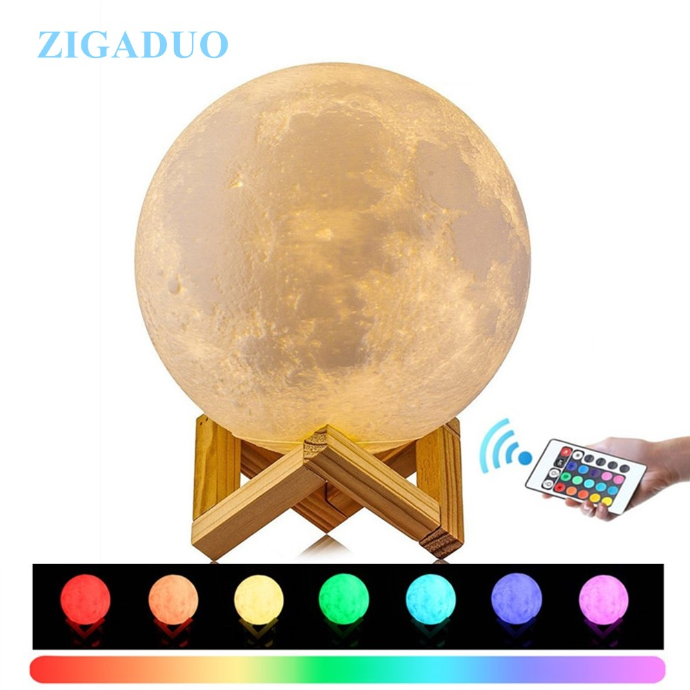 24CM 20CM Lampara Luna 3D Print Moon Lamp Colors Change Touch Bedroom Bookcase Night Light Home Decor Christmas Gift Drop Ship