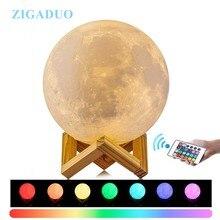 24CM 22CM 18CM 20CM Lampara Luna 3D Print Moon Lamp Colors Change Touch Bedroom Bookcase Night