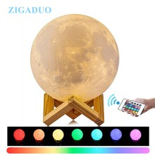24CM 22CM 18CM 20CM Lampara Luna 3D Print Moon Lamp Colors Change Touch Bedroom Bookcase Night Light Home Decor Christmas Gift