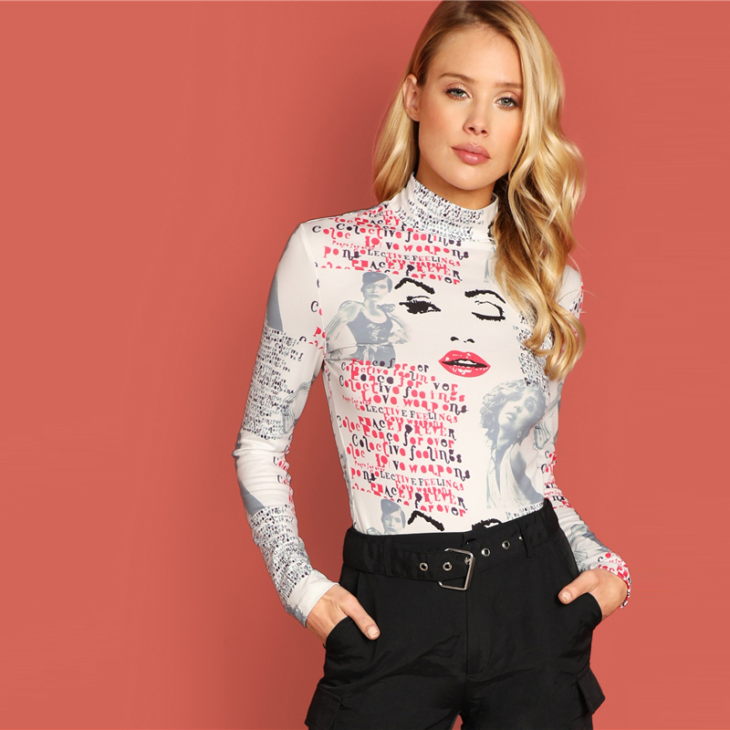 Mock-Neck Mixed Print Tee Long Sleeve Slim Fit High Neck T-Shirt