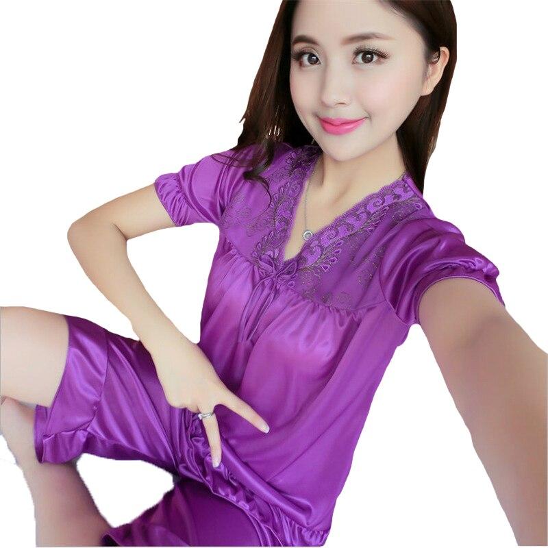 Lace 2PCS Shirt&Pants Sleep Set Lounge Pajamas Suit Intimate Lingerie Summer Women Loose Home Clothes Female New Nightwear