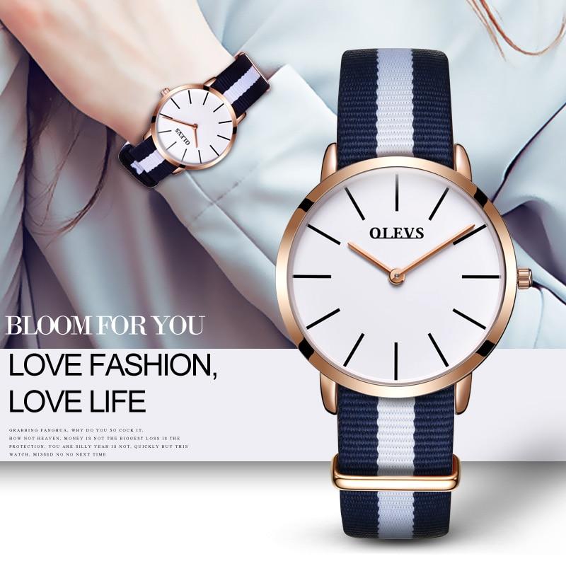 relogios femininos de marca famosa Fashion Design Women Rose Gold Watches OLEVS Brand Wrist Watch Nylon Luxury Clock For Ladies