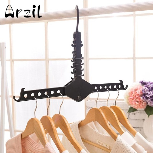 clothes hanger with hooks 360 degree rotation space saving black