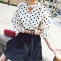 Blusas Femininas 2015 Summer Fashion Vintage Women's Shirt Chiffon Blouse Hot Polka Dot Women Long Sleeve Tops Roupas S-XXL