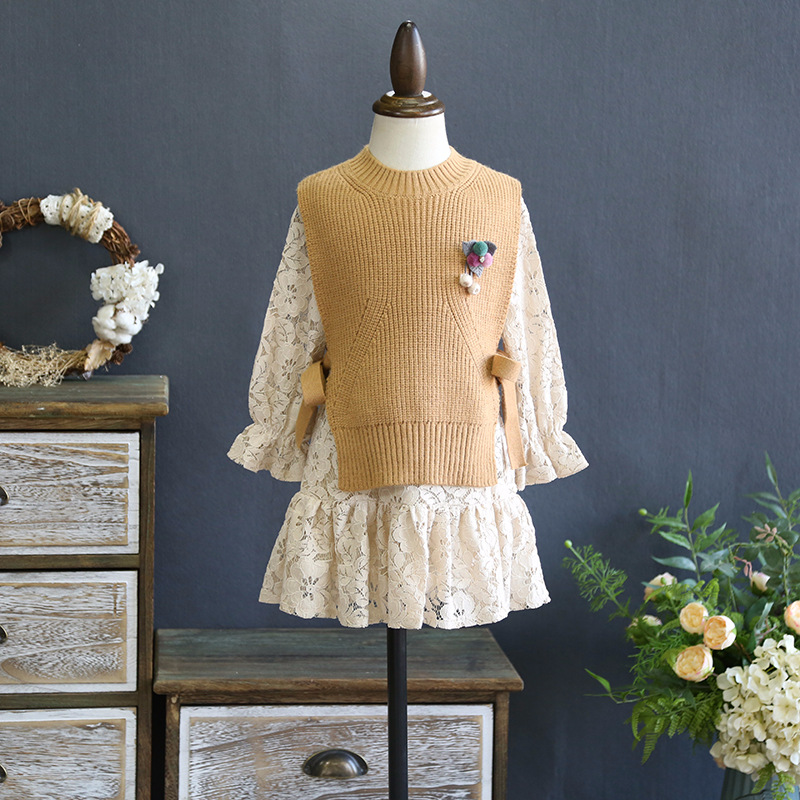 Girls dress spring 2018 new Korean knitting wool vest  with Lace Princess dress two piece suits qiu dong korean fashion personality joker empty hat knitting wool hair hoop headband