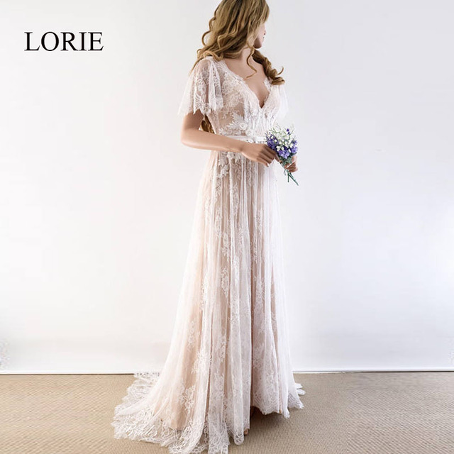 LORIE Boho Wedding Dress 2019 V Neck Cap Sleeve Lace Beach Wedding Gown Cheap Backless Custom Made A-Line Bride Dresses 1
