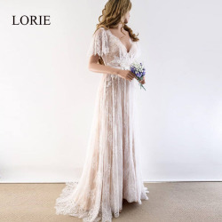 LORIE Boho Wedding Dress 2019 V Neck Cap Sleeve Lace Beach Wedding Gown Cheap Backless Custom Made Free Shipping Bride Dresses 2