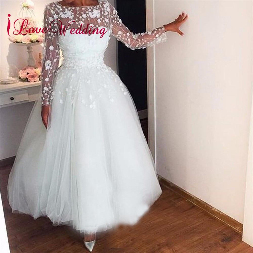 2019 See Through Long Sleeves A Line Wedding Dress White