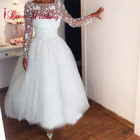 2019 See Through Long Sleeves A Line Wedding Dress White Lace Custom made Ankle Length Short Wedding Gown Vestido De Novia