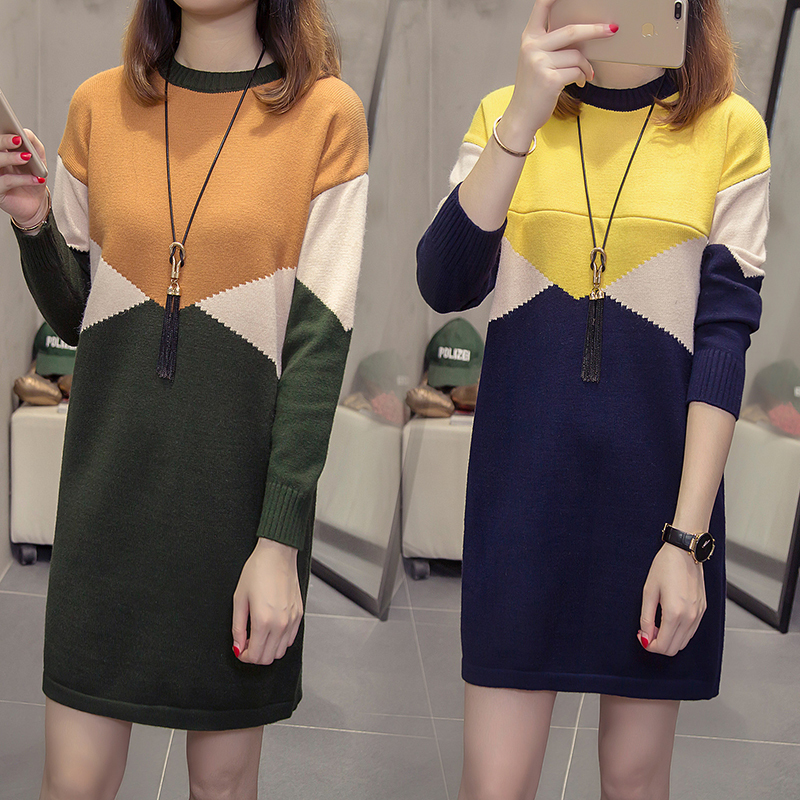 2ec6c993465 Maternity Nursing Dress Knitted Breastfeeding Sweater Dresses Color  Contrast Long Pullovers for Pregnant Women Pregnancy Clothes-in Dresses  from Mother ...