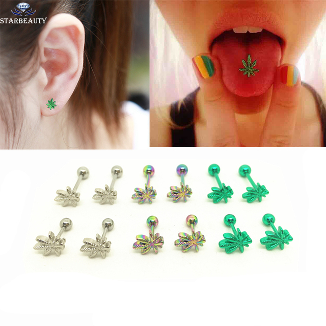 1pc Light Green Color Leaves Tongue Piercing Ring Body Jewelry Stainless Steel Ear Nail