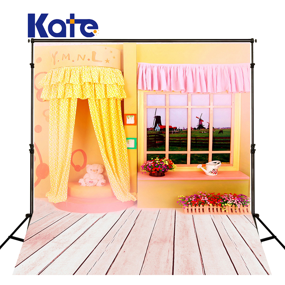 Newborn Dress Background Wood Floor Toy Photography Backdrops Baby Pink Curtain Yellow Wall Studio Photo