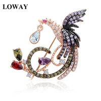 LOWAY 18K Rose Gold Plated Multi CZ Micro Pave Setting Phoenix Bird Animal Brooches Wholesale Women