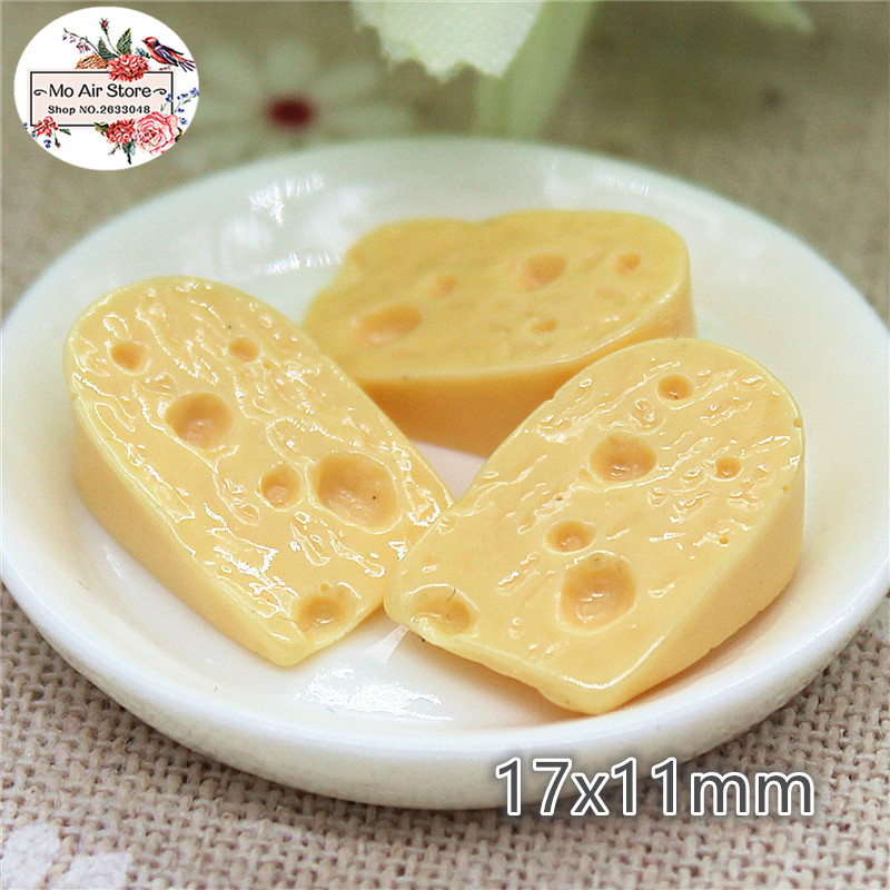 Cheese 10PCS 17x11mm Resin Flatback Cabochon Miniature Food Art Supply Decoration Charm