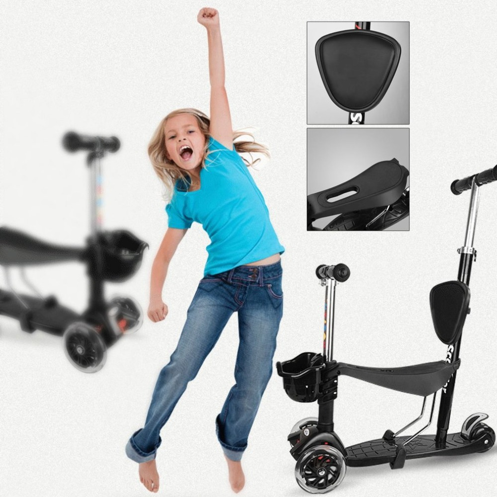 Multifunctional 4 PU Wheels Children Kids Scooter Adjustable Height LED Light Wheels Stroller Scooter With Basket ancheer children kick scooter wheels adjustable led up light music 3 wheels foot child scooter clearance
