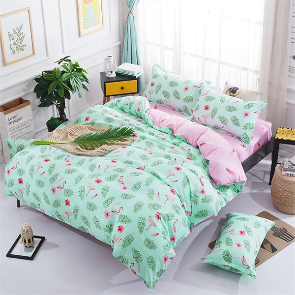 BEST WENSD Flamingos bedding set Snowflakes lattices duvet cover wedding decoration flat bed bedspread bedclothes jogo