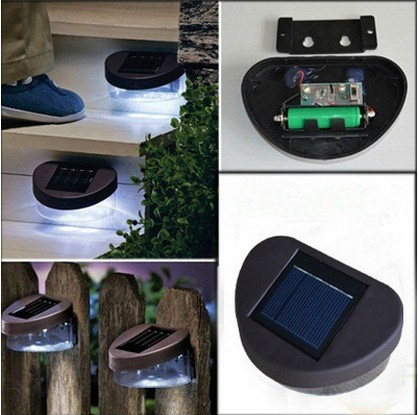Brandudsalg! 4pcs 2LED Udendørs Solar Powered Wall Trappe Mount Garden Cool Fence Light Lamp luminaria sol Gratis forsendelse