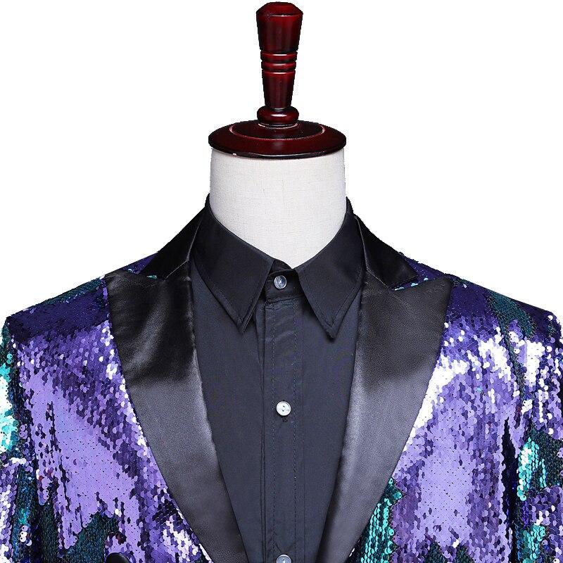 Reflector láser para hombre Swallowtail Gold Purple Tail abrigos noche Club moda Variable colores colas mago cantante baile disfraz - 6