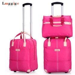 Conjunto de saco de bagagem de rolamento feminino, mala de viagem de pano oxford impermeável, caixa de trole de roda, caixa de dragbox portátil com bolsa