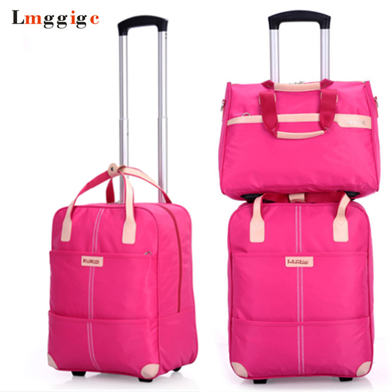Women Rolling Luggage Bag Set,Waterproof Oxford Cloth Travel Suitcase,Wheel Trolley Case,Portable Carry-On Dragbox With Handbag