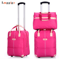 Women Rolling Luggage Bag set,Waterproof Oxford cloth Travel Suitcase,Wheel Trolley Case,Portable Carry On Dragbox with Handbag