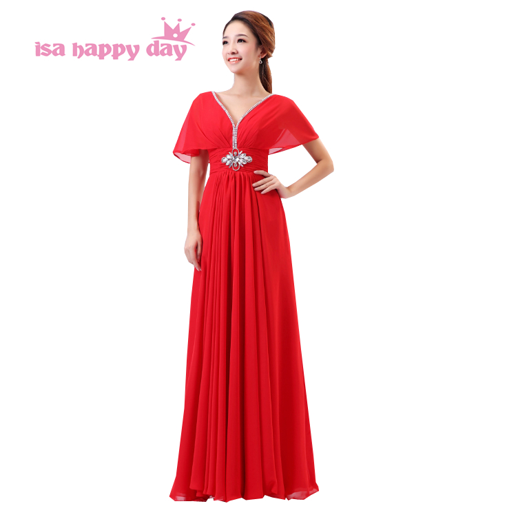 Modest Bridesmaid Dresses With Cap Sleeves Rhinestones And Crystals 2019 Red Dress Long In Chiffon Bridal Gowns Under 100 B804