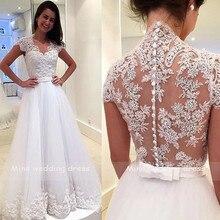 שמלות כלה אפליקציות תחרה עם חגורת Vestido דה Noiva Robe דה Mariee חזרה רוכסן וכפתור הכלה שמלה