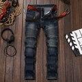 Mens jeans Skinny homens Runway Afligido calças Lavadas magros elásticas de jeans denim jeans Motociclista hiphop jeans preto para os homens azuis #550-1