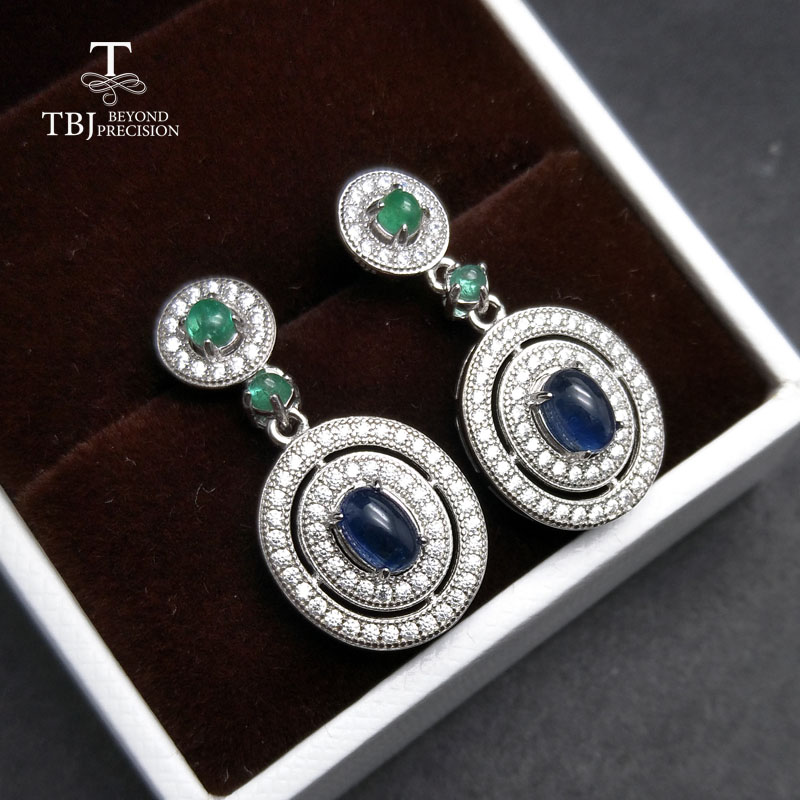 TBJ classic earring with natural sapphire and emerald earring in 925 sterling silver gemstone jewelry for