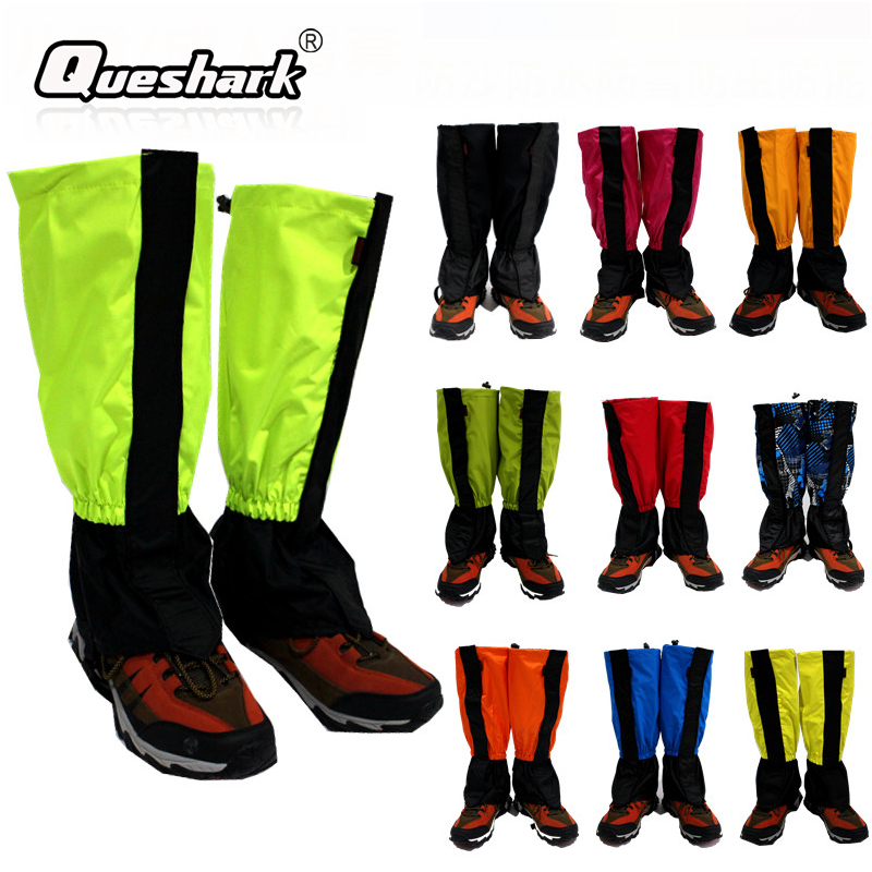 Mens Waterproof Climbing Snow Legging Boot Gaiters Trouser Cover Walking Red