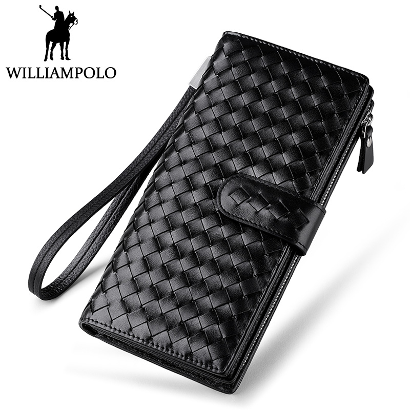 WILLIAMPOLO Luxury Brand Woven Wallet Genuine Leather Clutch Bag Handy Long Wallet Men Safety String Purse Original Phone Wallet brand design men luxury individuality vintage long wallet skull style genuine cow leather purse men s clutch handy phone bags