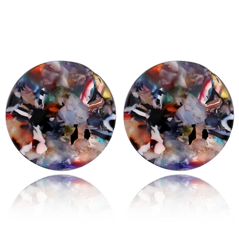 New Fashion Bohemia Vintage Round Colorful Acrylic Geometric Stud Earrings For Women Tortoiseshell Pendientes Jewelry AE211