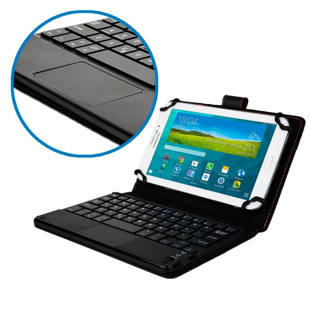 Universal Detachable Bluetooth Keyboard With Touchpad Leather Cover Case For Samsung Galaxy Tab 4 T230 T231 T111 P3100 P6800 bluetooth detachable keyboard folio case cover for samsung galaxy tab a 9 7 t550 h029