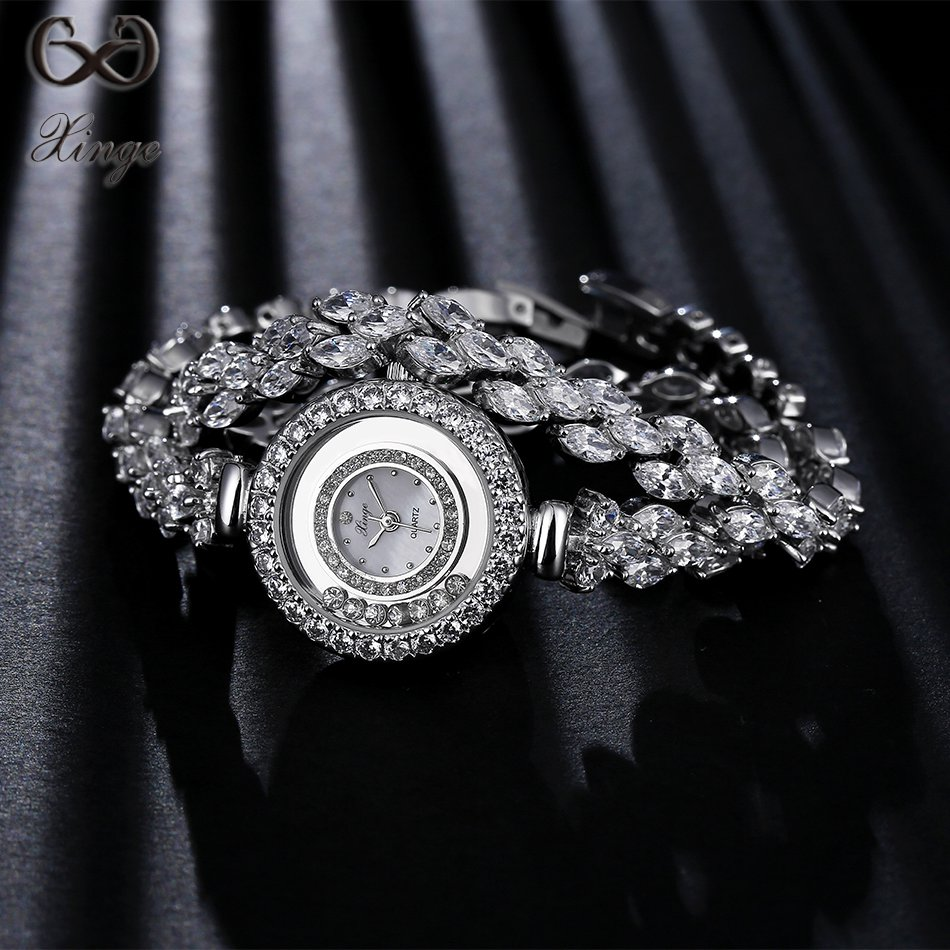 Xinge Brand High Quality Luxury Fashion Silver Watches Women Long Band Wristwatch Ladies Zircon Watch Bracelet Wristwatches 2016 women diamond watches steel band vintage bracelet watch high quality ladies quartz watch