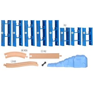 Image 5 - Vías de tren en espiral de plástico para niños, 26 Uds., accesorios de vía férrea de madera, pistas de puente con ajuste, Thoma Biro, Juguetes