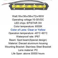 18w 36w 54w 72w 90w Single Row White Yellow Led Light Bar Offroad Work Driving Lamp Spot Foglight Fog Bulb Off Road Auto 12V 24V