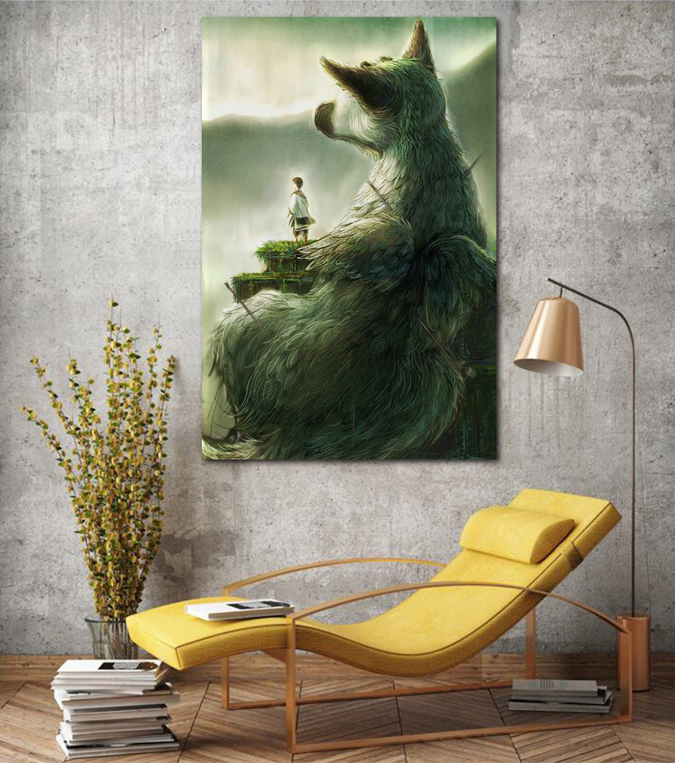 Us 7 67 36 Off The Last Guardian 2018 Child Animal Big Pet Fantasy Art Living Room Home Art Decor Wood Frame Fabric Poster Print Ex321 In Painting