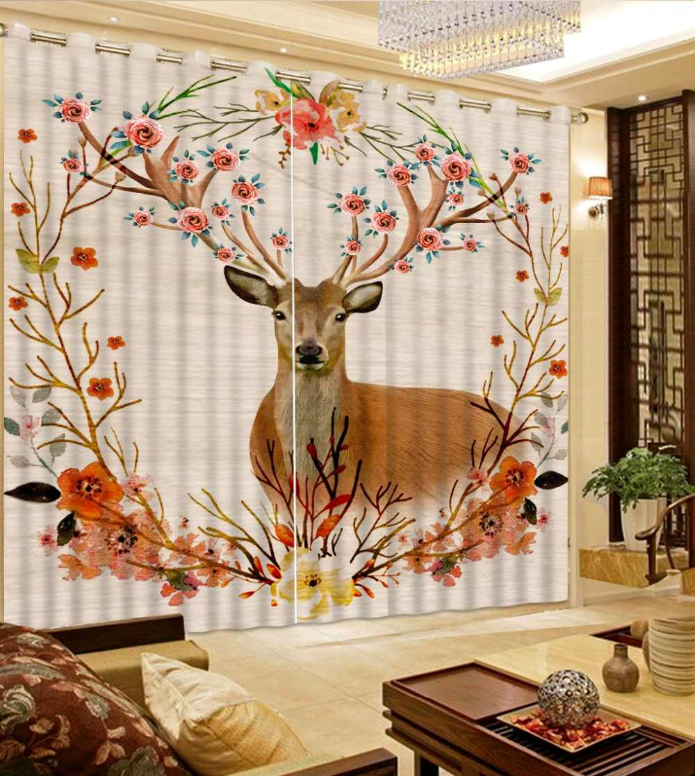 modern bedroom curtains pattern decoration Deer flower tree window bedroom curtain 3d curtains