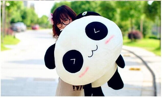 70cm lying panda plush toy doll birthday gift  w6712 lovely giant panda about 70cm plush toy t shirt dress panda doll soft throw pillow christmas birthday gift x023