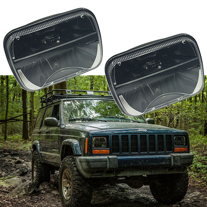 5'' x 7'' Rectangular led headlamp Square 7x6 inch LED Headlights H4 High/Low Beam for Jeep Wrangler YJ Cherokee Comanche pair 5   x 7   inch 85w 5d rectangular