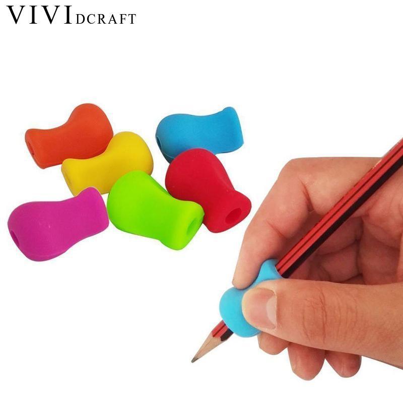 Vividcraft 5pcs/Lot Pencil Holder Pen Writing Aid Grip Posture Correction Pencil Grip Device Tool Non-slip Corrective Supplies
