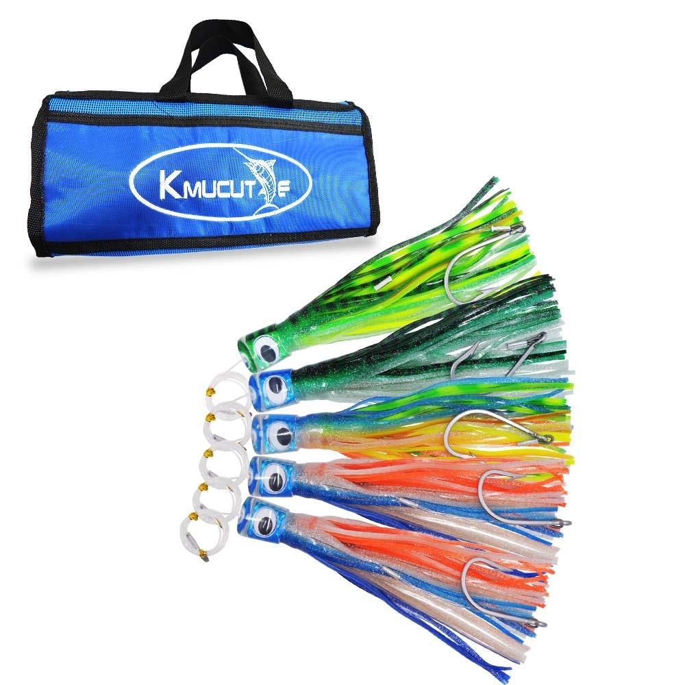 1 bag 11.5inch resin Head Skirt marlin tuna Trolling lure high-carbon steel hook